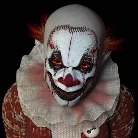 Scary clown staren je. Geà ¯ soleerd op een zwarte achtergrond.