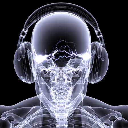 Skeleton X-ray DJ: An X-ray of a male skeleton DJ wearing headphones with electric activity in his head. Isolated on a black background Stock Photo