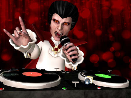 Vampire DJ: Count Dracula is in the House and mixing up some Halloween horror.  Turntables with vinyl albums. photo