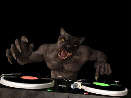 Lycan DJ: A Lycan werewolf is in the House and mixing up some Halloween horror.  Turntables with vinyl albums. Isolated on black
