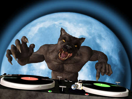 music dj: Lycan DJ: A Lycan werewolf is in the House and mixing up some Halloween horror.  Turntables with vinyl albums.