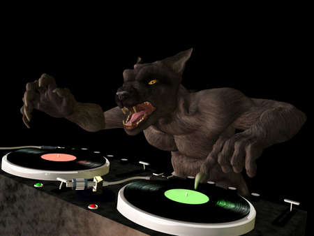 Lycan DJ: A Lycan werewolf is in the House and mixing up some Halloween horror.  Turntables with vinyl albums. Stock Photo - 15889842