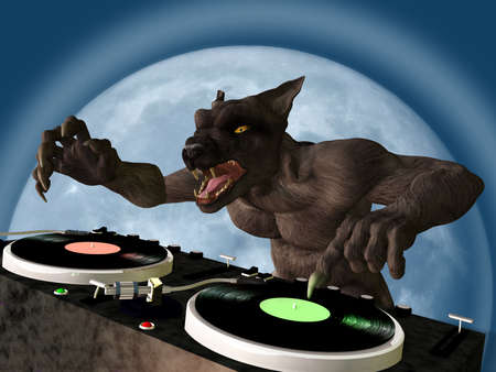 Lycan DJ: A Lycan werewolf is in the House and mixing up some Halloween horror.  Turntables with vinyl albums. photo