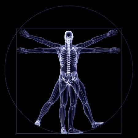 radiogram: Skeleton X-Ray - Vitruvian: X-Ray of a male skeleton in a Leonardo da Vinci Vitruvian style pose. Isolated on a black background
