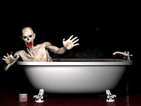 Bath Salt Zombie: An undead zombie taking a bath salt bath.