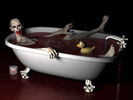 hallow: Bath Salt Zombie: An undead zombie taking a bath salt bath complete with rubber ducky with brains showing.