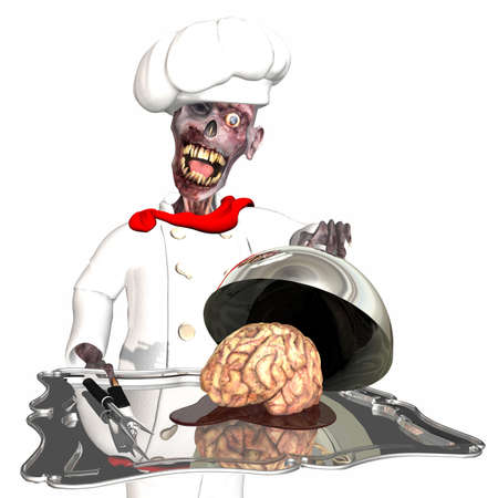 Zombie Chef - Brains, it's what's for Dinner: A zombie wearing a chef uniform and hat, holding a silver tray loaded with a brain sitting in a puddle of blood. Isolated on a white background. photo