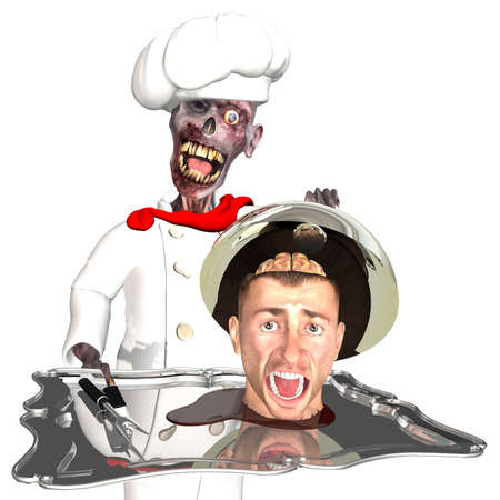severed: Zombie Chef - Brains, its whats for Dinner: A zombie wearing a chef uniform and hat, holding a silver tray loaded with a severed head sitting in a puddle of blood. Isolated on a white background. Stock Photo