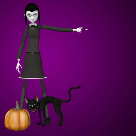 get out: Goth Girl - Get Out  A goth girl pointing for you to get out  Her black cat has its back arched  Stock Photo