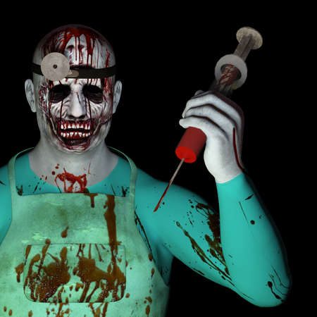 evil clown: The Doctor Will See You  A crazed and bloody doctor clutching a hypodermic needle full of blood  Isolated on black  Stock Photo