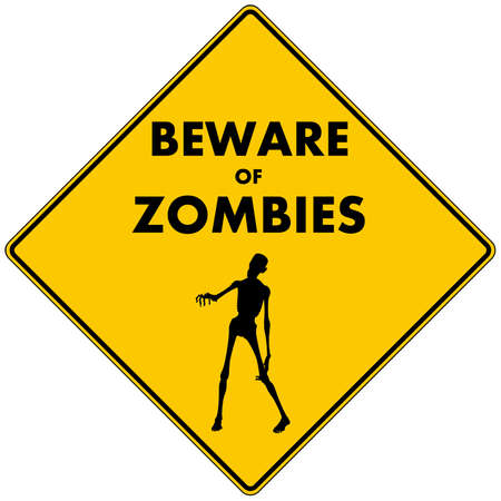terror: Beware of Zombies  a caution road sign warning you to beware of zombies in the immediate area, pictured with a zombie reaching out  Isolated  Stock Photo
