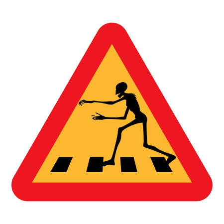 Zombie Crossing  a caution road sign warning you that zombies cross in the immediate area, pictured with a zombie running and reaching out  Isolated