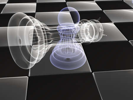 Checkmate X-ray: A pawn standing next to a fallen king on a chessboard.