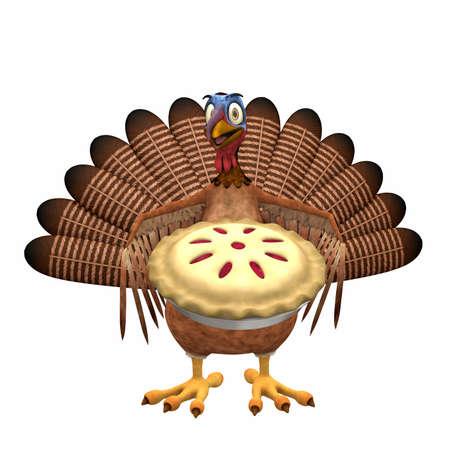 gamebird: Toon Turkey - Cherry Pie: A smiling cartoon turkey holding out a cherry pie. Isolated on a white background.