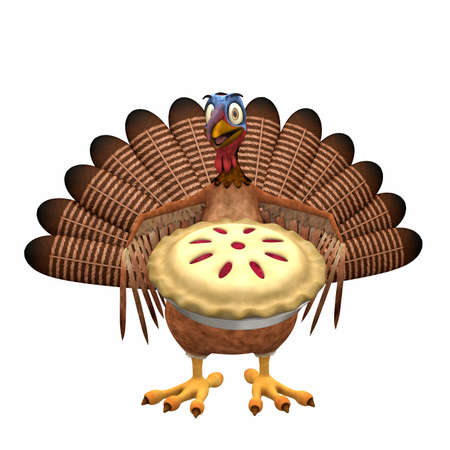 Toon Turkey - Cherry Pie: A smiling cartoon turkey holding out a cherry pie. Isolated on a white background.