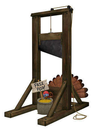 Toon Turkey Guillotine: A cartoon turkey tricked into putting his head into a guillotine with free feed. Isolated on a white background.