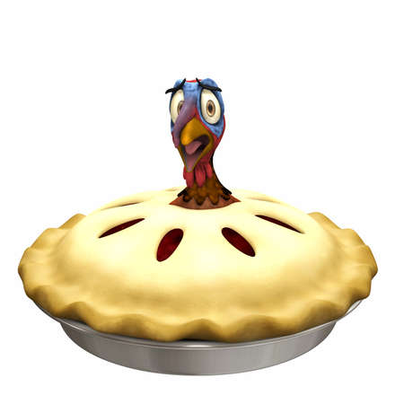 Turkey Pot Pie: A scared cartoon turkey with his head and neck sticking out of a turkey pot pie. Isolated on a white background.