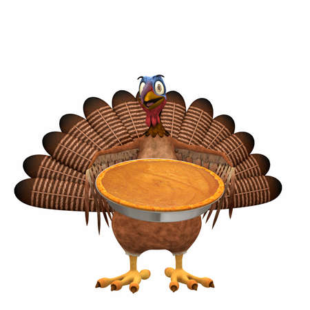 Toon Turkey - Pumpkin Pie: A smiling cartoon turkey holding out a pumpkin pie. Isolated on a white background. Stock Photo - 16166005