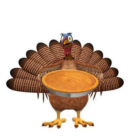 gamebird: Toon Turkey - Pumpkin Pie: A smiling cartoon turkey holding out a pumpkin pie. Isolated on a white background. Stock Photo