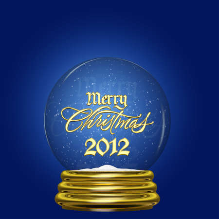 Snow Globe - Merry Christmas 2012  A snow globe with a gold base and the words Merry Christmas 2012 inside with swirling snow  Stock Photo
