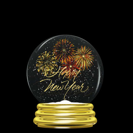Snow Globe - Happy New Year Fireworks  A snow globe with a gold base and the words Happy New Year and fireworks exploding along with swirling snow