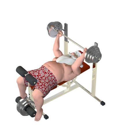 Santa Fitness - Lifting Weights  Santa lifting weights on a power bench  Isolated photo