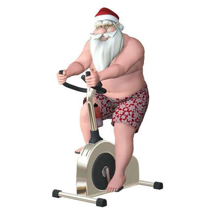papa noel: Papá Fitness - Stationary Bike de Santa ejercicio en una bicicleta estacionaria entrenador Aislado Foto de archivo