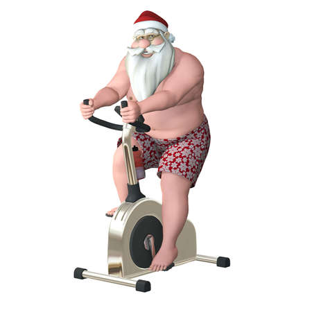 Santa Fitness - Stationary Bike  Santa exercising on a stationary bike trainer  Isolated