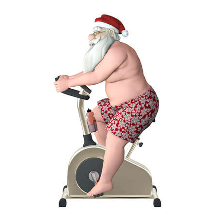 health and fitness: Santa Fitness - Stationary Bike Profile  Santa exercising on a stationary bike trainer  Profile view  Isolated Stock Photo