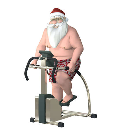step fitness: Santa Fitness - Stair Stepper  Santa working out on a stair stepper  Isolated