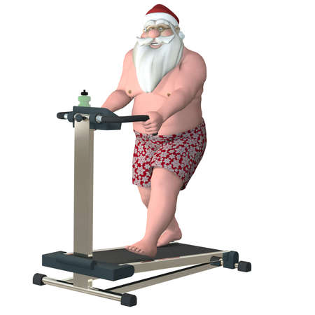 kris kringle: Santa Fitness - Treadmill  Santa working out on a treadmill   Isolated  Stock Photo