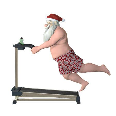 Santa Fitness - Laufband Beleg Weihnachtsmann rutscht während der Arbeit aus auf einem Laufband Isoliert