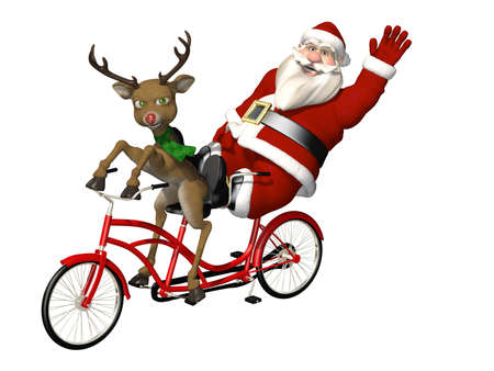 pedaling: Santa and Reindeer - Bicycle Built for Two  A red nosed reindeer pedaling the bicycle while Santa relaxes and waves   Isolated on a white background