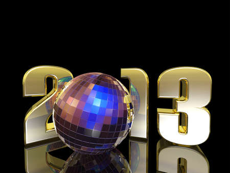 2013 New Year Disco Ball with reflections. Happy New Year. Stock Photo - 17122489