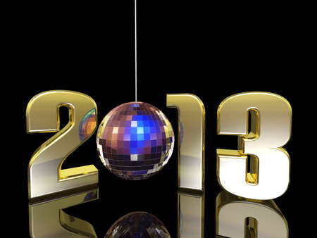 bash: 2013 hanging New Year Disco Ball with reflections. Happy New Year. Stock Photo
