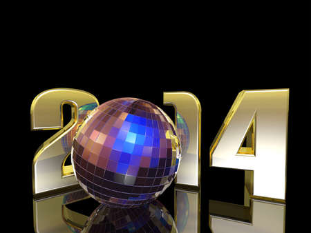 bash: 2014 New Year Disco Ball with reflections. Happy New Year.