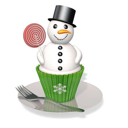 carrot nose: Snowman Cupcake: A snowman cupcake with licorice pieces and a candy carrot nose holding a red and white sucker sitting on a plate with a fork.
