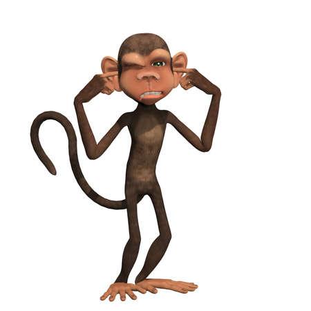 Theory Drei Affen Affe Nähe Ohren Affen Nahe Mund Und Affe Schließen ...