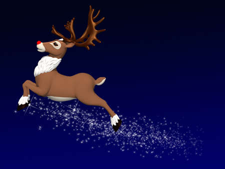 Reindeer Flying: Santa's lead reindeerflying leaving a trail of magic dust..  photo