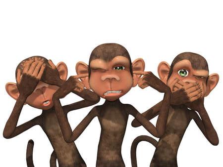 세 현명한 원숭이 - 노 이블 참조 노 이블 듣고, 더 악한 이야기