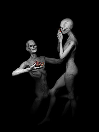 declaration of love: Zombies in Love - Zombie declaring his undiying love, offering his heart to his girl..Isolated on a black background. Stock Photo