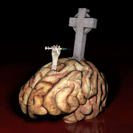 Brain Dead - Drugs - an unhealthy brain laying in blood, an arm thrust out with a hand clutching a needle full of drugs, and a gravestone marker.