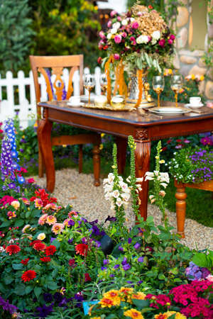 Luxury Garden Table setting for a couple