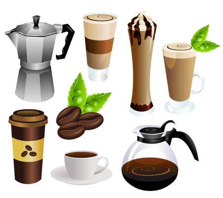 chicchi di caff�: caff� insieme vettoriale