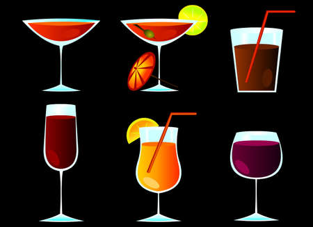 cocktail glass set Vector