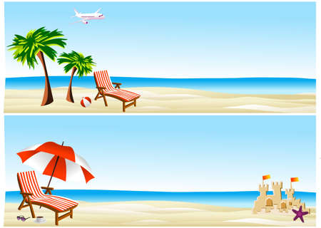 sand castle: beach banners Illustration