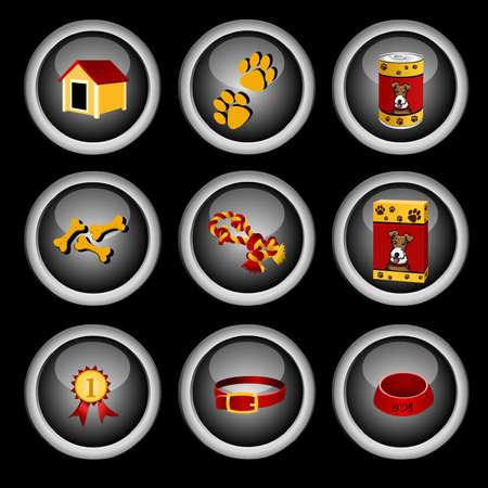 veterinary medicine: dog icon set