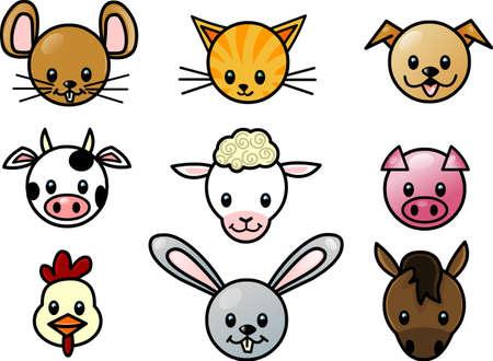 cerdo caricatura: iconos de mascotas Vectores