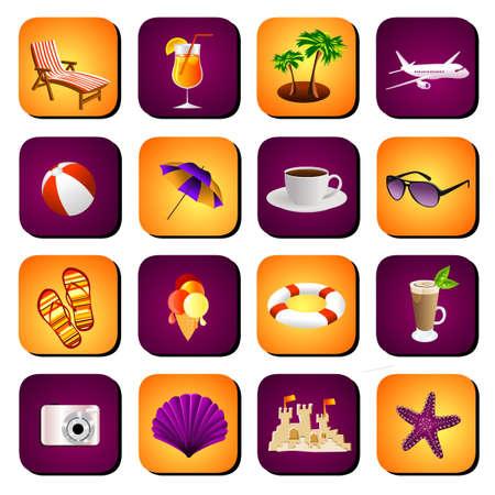 sun tan: conjunto de iconos de playa