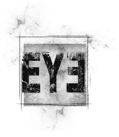 Text of eye in a square background design Reklamní fotografie